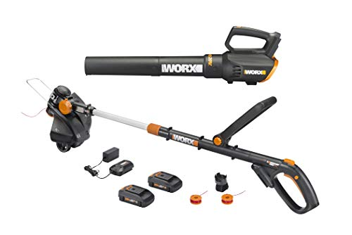 Worx WG930 20V 10' Cordless String Trimmer & TURBINE Blower Combo Kit, 2 Batteries and 1-Hr Charger