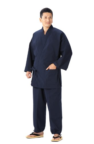 Samue (This is something you can wear at home & Work clothes) made in Japan KurumeImportJapanese clothes size (Navy Blue, L)