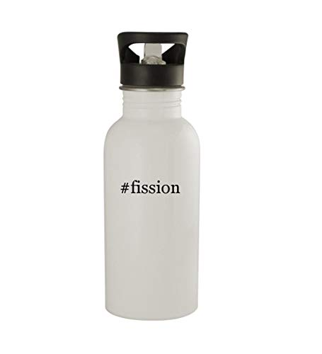 Knick Knack Gifts #Fission - 20oz Sturdy Hashtag Stainless Steel Water Bottle, White