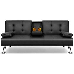 Flamaker Futon Sofa Bed Modern Faux Leather Couch, Convertible Folding Recliner Lounge Futon Couch for Living Room with…