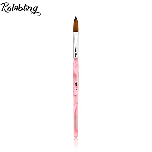 Rolabling Kolinsky Sable Brush Acrylic Nail Art Builder Brush Crystal Pink Nail Art Painting Brush (size 10#)