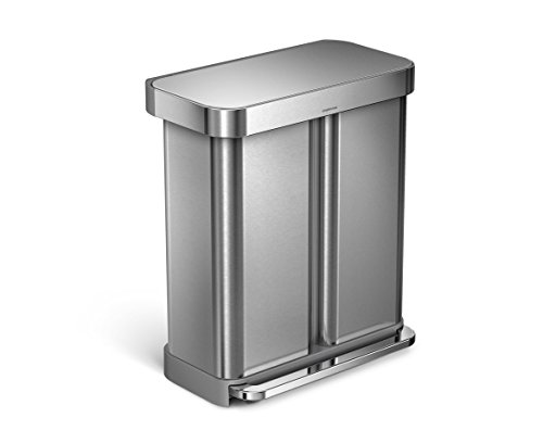 simplehuman 58 Liter/15.3 Gallon Stainless Steel Dual Compartment Rectangular Kitchen Step Trash Can Recycler with Liner Pocket, Brushed Stainless Steel
