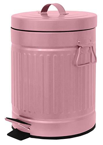 Elaine Karen Deluxe Galvanized Steel Step Foot Pedal Retro Garbage Trash Can – 5 Liter - Pink