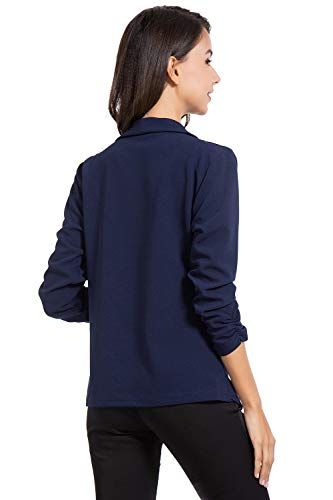 AUQCO Casual Open Front Blazer for Women Work Office Business Jacket Ruched 3/4 Sleeve Lightweight Draped Cardigan 15 Fashion Online Shop gifts for her gifts for him womens full figure