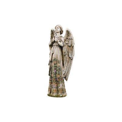 Praying-Angel-with-Ornate-Rose-Design-Dress-24-Inch-Stoneware-Garden-Statue