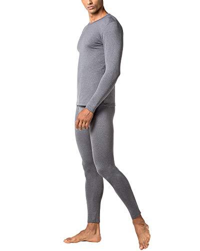 LAPASA Men's Lightweight Thermal Underwear Long John Set Fleece Lined Base Layer Top and Bottom M11 (XX-Large, Dark Grey)