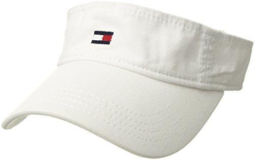 Tommy Hilfiger Men's Dad Hat Flag Solid Cotton Visor, Classic White, O/S