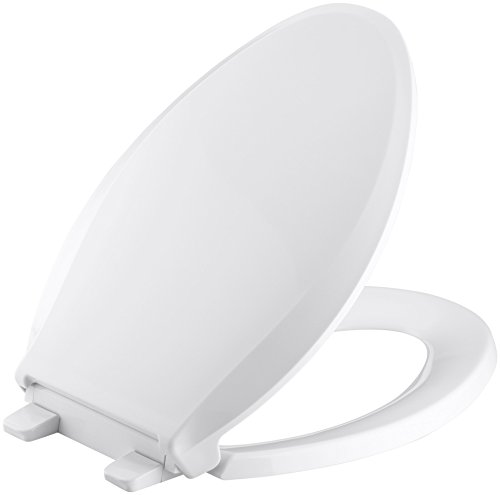 KOHLER K-4636-0 Cachet Elongated White Toilet Seat, with Grip-Tight Bumpers, Quiet-Close Seat, Quick-Release Hinges, Quick-Attach Hardware, No Slam Toilet Seat, white