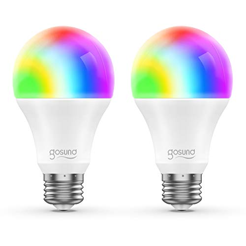 Smart WiFi LED Light Bulb A19 800Lm, Multi-Color, Dimmable, No Hub Required, APP Remote Control Home Night lamp, Work with Alexa & Google Assistant (2 Pack)