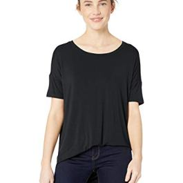 Amazon Brand – Daily Ritual Women's Jersey Rib Trim Drop-Shoulder Short-Sleeve Scoop-Neck Tunic Shirt
