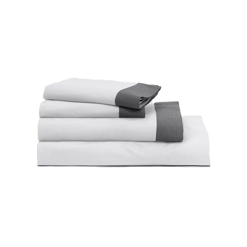 Casper Sleep Soft and Durable Supima Cotton Sheet Set, King, White/Slate