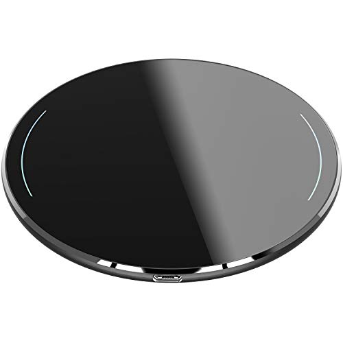 TOZO Wireless Charger Upgraded, Ultra Thin Aviation Aluminum [Sleep-Friendly] FastCharging Pad for iPhone Xs, XR, Xs Max, X, 10, 8, 8 Plus, Samsung Galaxy S8, S8+, Note 8, 9 [Black] - NO AC Adapter