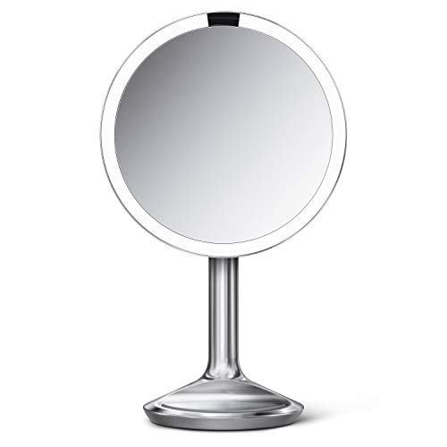simplehuman Sensor Lighted Makeup Vanity Mirror SE, 8' Round, 5X Magnification, Stainless Steel, Brushed