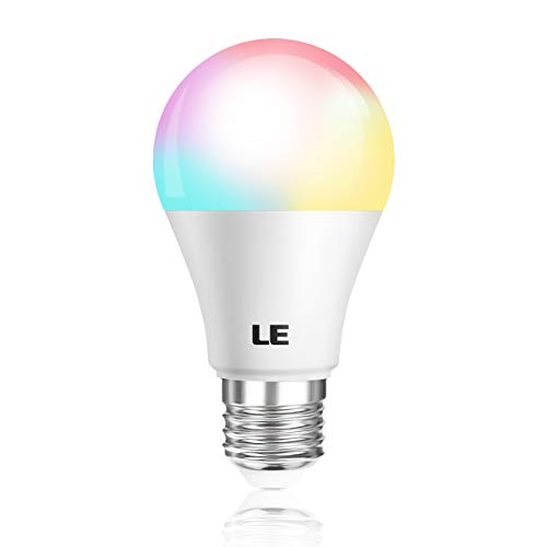 LE LED Light Bulb A19 E26, 6W RGBW Color Changing, 4 Lighting Modes, 40W Equivalent Dimmable, Soft White 3000K, Remote Control for Home, Living Room, Bedroom and More