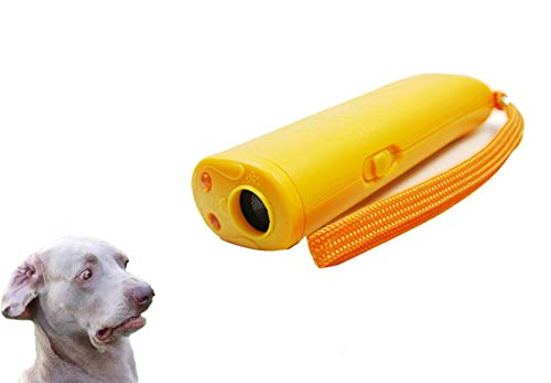 ASOCEA New 3 in 1Ultrasonic Dog Trainer Repeller Anti Barking Stop Bark Training Device with LED (Yellow) 1