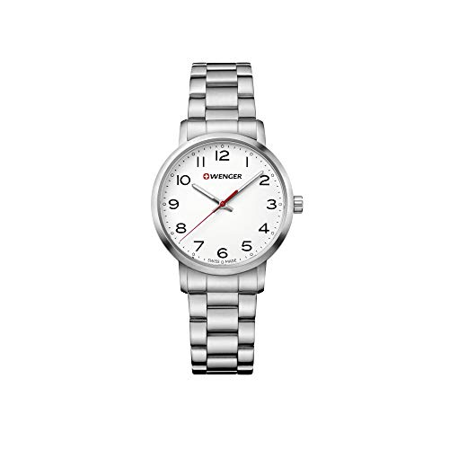 Wenger Women's Sport Swiss-Quartz Watch with Stainless-Steel Strap, Silver, 17 (Model: 01.1621.104)