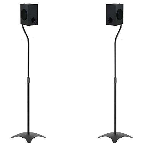 Speaker Stand Adjustable Height Mount Hold Satellite Book Shelf speaker up to 9.9lbs Extend from 27' to 43' (SS201), 1 Pair, Black by WALI