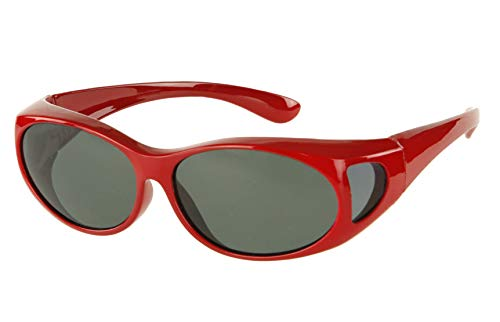 LensCovers Wear Over Sunglasses Small Red Frames with Smoke Lens - Fit Over Style