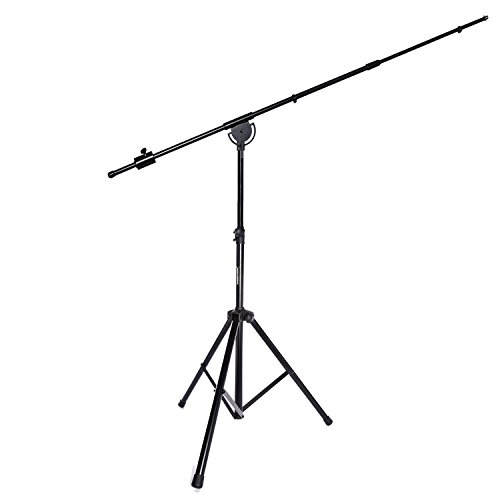 LyxPro SMT-1 Professional Microphone Stand Heavy Duty 93' Studio Overhead Boom Stand 76' Extra Long Telescoping Arm Mount, Foldable Tripod Legs & Adjustable Counterweight