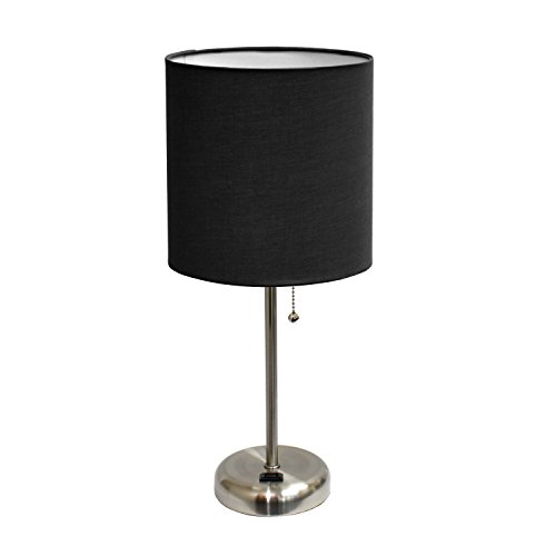 Limelights LT2024-BLK Brushed Steel Lamp with Charging Outlet and Fabric Shade, Black