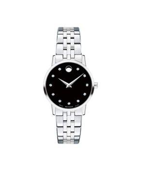Movado Museum, Stainless Steel Case, Black Dial, Stainless Steel Bracelet, Women, 0607207