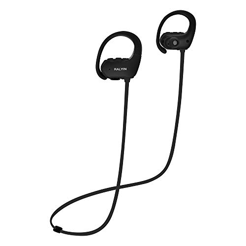 Ralyin Sport Bluetooth Headphones Wireless Earbuds Good Sound Quality Headset, IPX4 Waterproof Earphones with Mic, 8 Hours Play Time, Audifonos for Running Workout Jogging Gym, Black