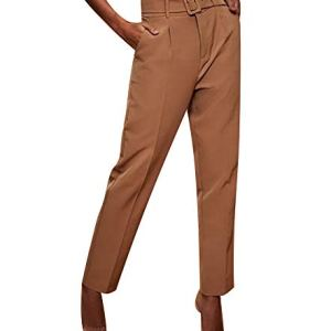 Womens Formal Dress Pants - Comfy Career Straights Leg Work Trousers with Belt 17 Fashion Online Shop gifts for her gifts for him womens full figure