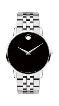 Movado Men's Museum Stainless Steel Watch with Concave Dot Museum Dial, Silver/Black (Model 607199)