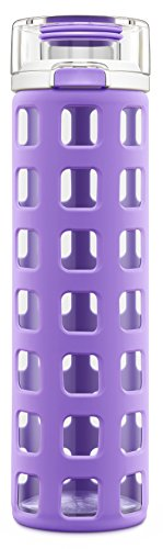 Ello Syndicate Glass Water Bottle with One-Touch Flip Lid | 20 oz | Purple