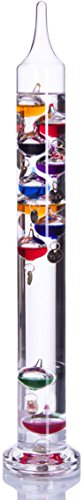 Palais Essentials Galileo Thermometer - Floating Glass Balls Fahrenheit Temperature Indicator - Fun and Decorative (17.5' Inches High, 10 Multi Colored Spheres)