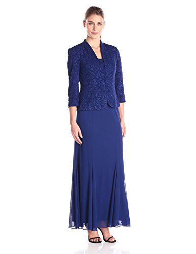 Sleeveless gown featuring sparkly lace bodice with square neckline and pleated chiffon skirt Includes matching three-quarter sleeve blazer
