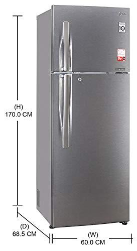 31sEzZZELuL LG 335 L 3 Star Inverter Frost-Free Double Door Refrigerator (GL-T372JDS3, Dazzle Steel, Convertible)