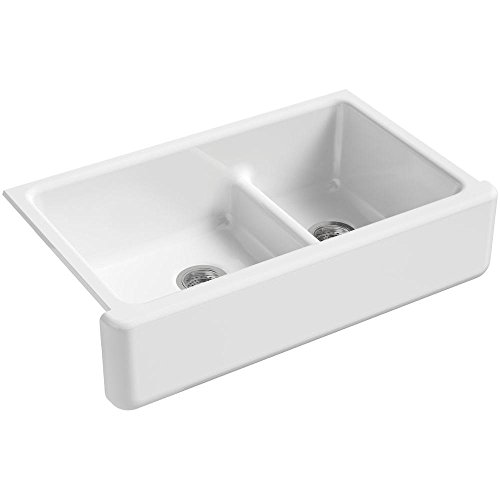 Whitehaven 35-11/16 In. x 21-9/16 In. Self-Trimming Smart Divide Undermount Large/Medium Double-Bowl Kitchen Sink with Tall Apron, White
