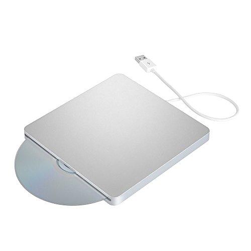 Portable 2.0 External DVD Drive,External DVD Drive DVD Reader with CD Burner Player for Mac, Mac Air, Mac Pro and Other Notebook/Desktop, Windows 10 Compatible (Silver)