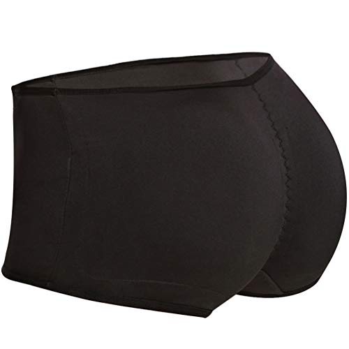 Seamless Padded Butt Lifter Panties Hip Enhancer with Removable Pads Womens Boy Shorts (Black, X-Large)