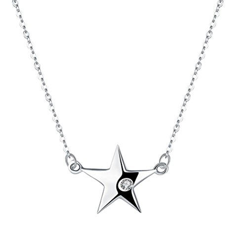 Fenical S925 Sterling Silver Necklace Simple Star Pendant Necklace Accesorio de la joyería para...