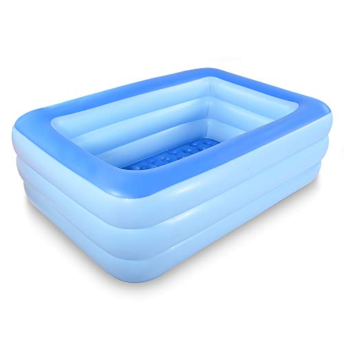 "HIWENA Inflatable Family Swim Center Pool, 83"" Gaint Swimming Pool Summer Water Fun with Inflatable Soft Floor (83"" Blue)"