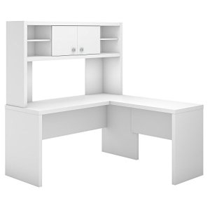 Office by kathy ireland Echo L Shaped Desk with Hutch in Pure White