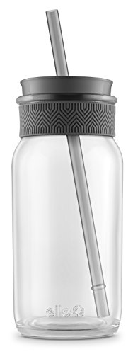 Ello Kella BPA-Free Glass Sipper with Straw, Grey, 20 oz.