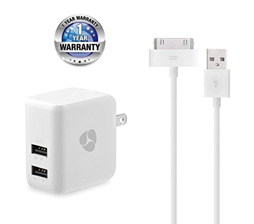 Fenergy 3.1A Dual Port High Speed USB Wall Charger Power Adapter with Extra Long 30 Pin Charging Cable Power Cord for iPhone 4s,iPod Touch 3/4, iPad 2/3