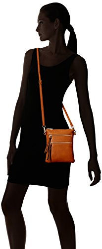"""7"""" (L) x 8"""" (H) x 0.5"""" (D) Zipper closure (Outside zippers are functional pockets) Faux Leather & Gold tone hardware"""