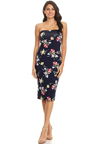 Women's Solid Casual Lined Tube Top Body-Con Fit Midi Dress/Made in USA