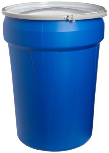Eagle 1601MB Blue High Density Polyethylene Lab Pack Drum with Metal Lever-lock Lid, 30 gallon Capacity, 28.5' Height, 21.25' Diameter