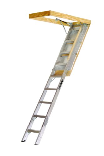 Louisville Ladder AA229GS Elite Aluminum Attic Ladder 350 Pound Capacity 22.5-Inch by 54-Inch Opening Ceiling Height 7-Foot-9-Inches to 10-Foot
