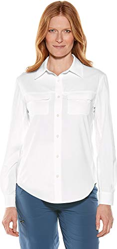 Coolibar UPF 50+ Women's Travel Shirt - Sun Protective (XX-Large- White)