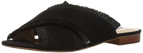 This slide sandal brings fringe benefits with tonal eyelash trims and a minimalist heel. Slip-on closure
