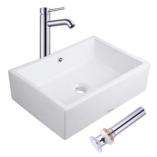 """Aquaterior Rectangle Porcelain Ceramic Bathroom Vessel Sink w/Overflow+12 1/2"""" Chrome Faucet Lavatory+Drain Set"""