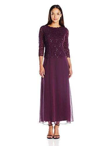 Floor-length dress featuring sequin lace bodice with illusion three-quarter sleeves and V-back Cutwork trim at cuffs, neckline, and bodice hem Concealed center back zipper