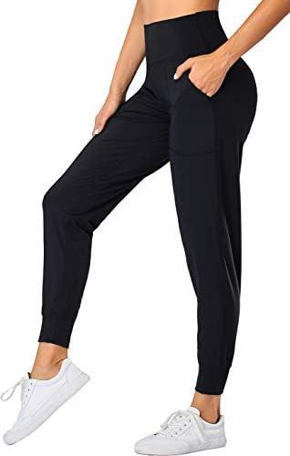 Oalka Women's Joggers High Waist Yoga Pockets Sweatpants Sport Workout Pants 1