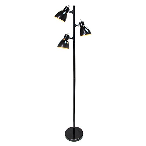 Simple Designs Home LF2007-BLK Simple Designs Metal 3-Light Tree Floor Lamp, Black Finish,